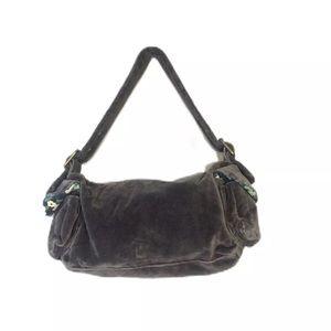 Green Floral Velvet Boho Shoulder Bag